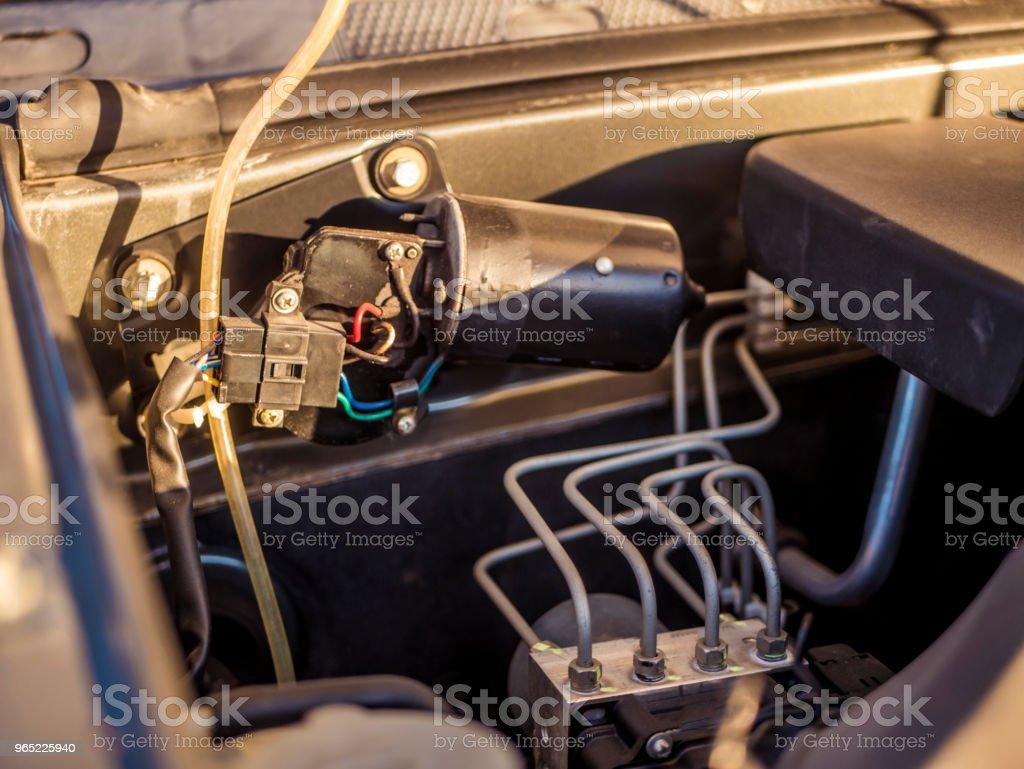 close up car opened hood motor royalty-free stock photo