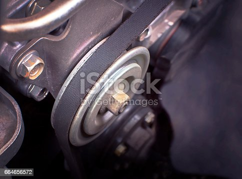 istock Close up car timing belt in engine room. 664656572