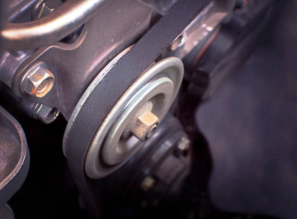 close up car timing belt in engine room. - belt stock photos and pictures