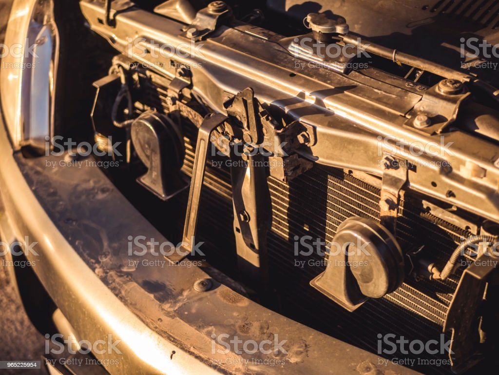 close up car with opened hood beep horns on the sunset royalty-free stock photo