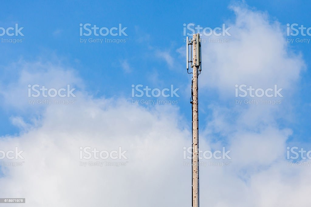 Close up Cellular transmitter, dipole antenna for telecommunication. stock photo
