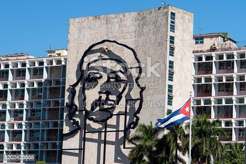November 27, 2019, Havana, Cuba. Close Up Che Guevara in plaza De la Revolution