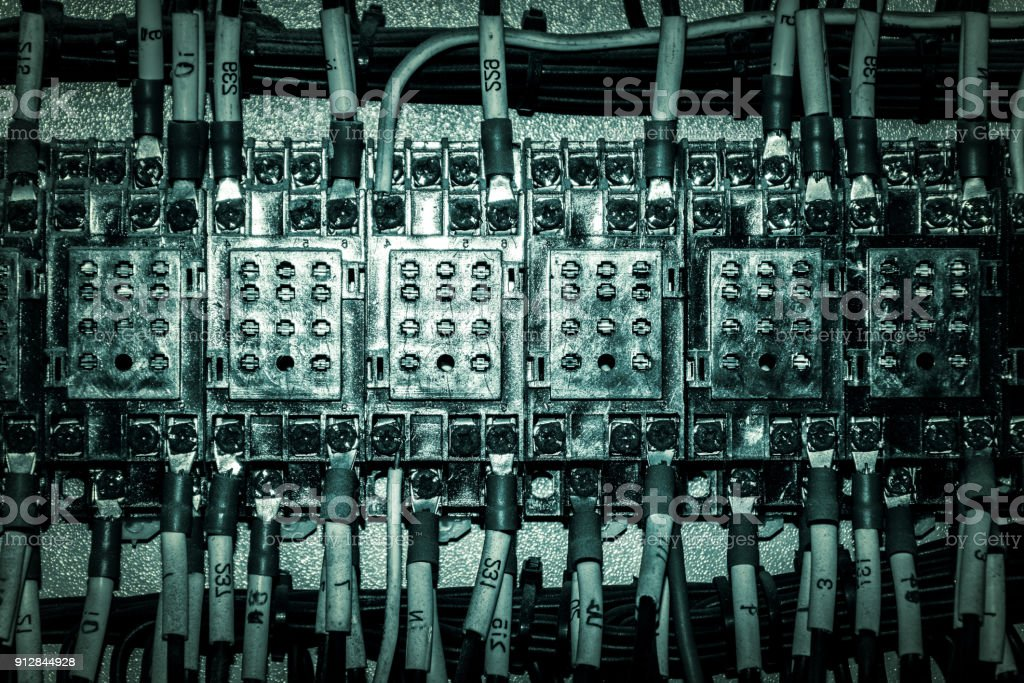 Awesome Close Up Circuit Breakers And Wire In Control Panel Stock Photo Wiring Cloud Favobieswglorg