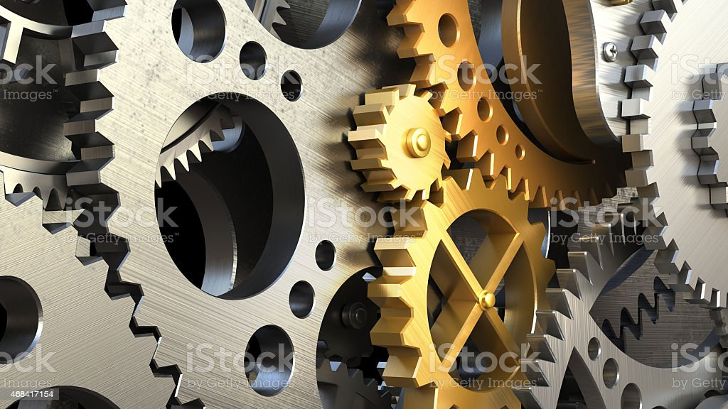 Close up clockwork mechanism or a machine inside. stock photo