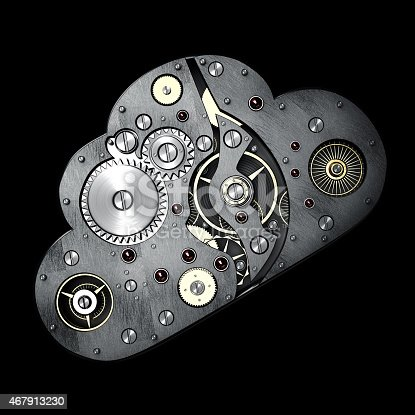 istock Close up cloud with gears isolated on black background 467913230