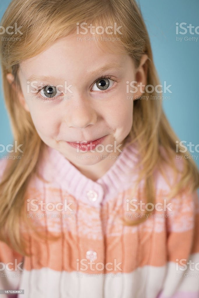 Close Up, Color Image of Cute Little Blond Haired Girl royalty-free stock photo
