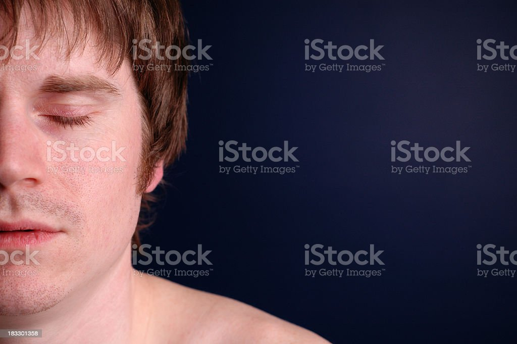 Close Up Color Image of Man Sleeping, with Copy Space royalty-free stock photo
