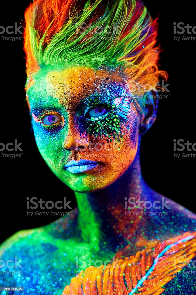 close up color UV portrait stock photo