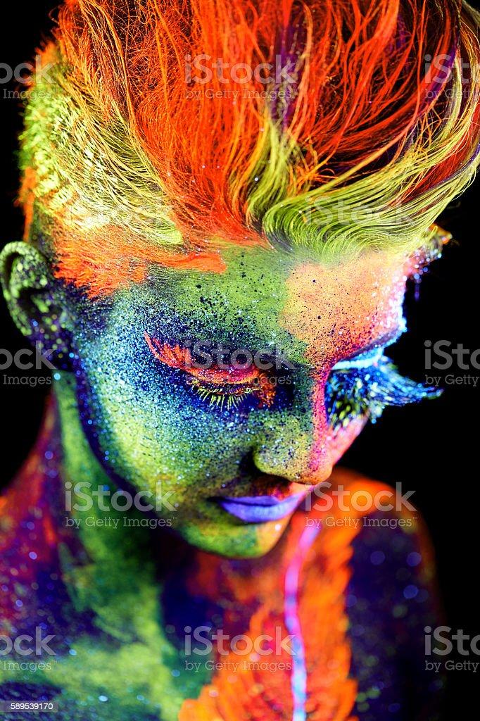 close up color UV portrait stock photo