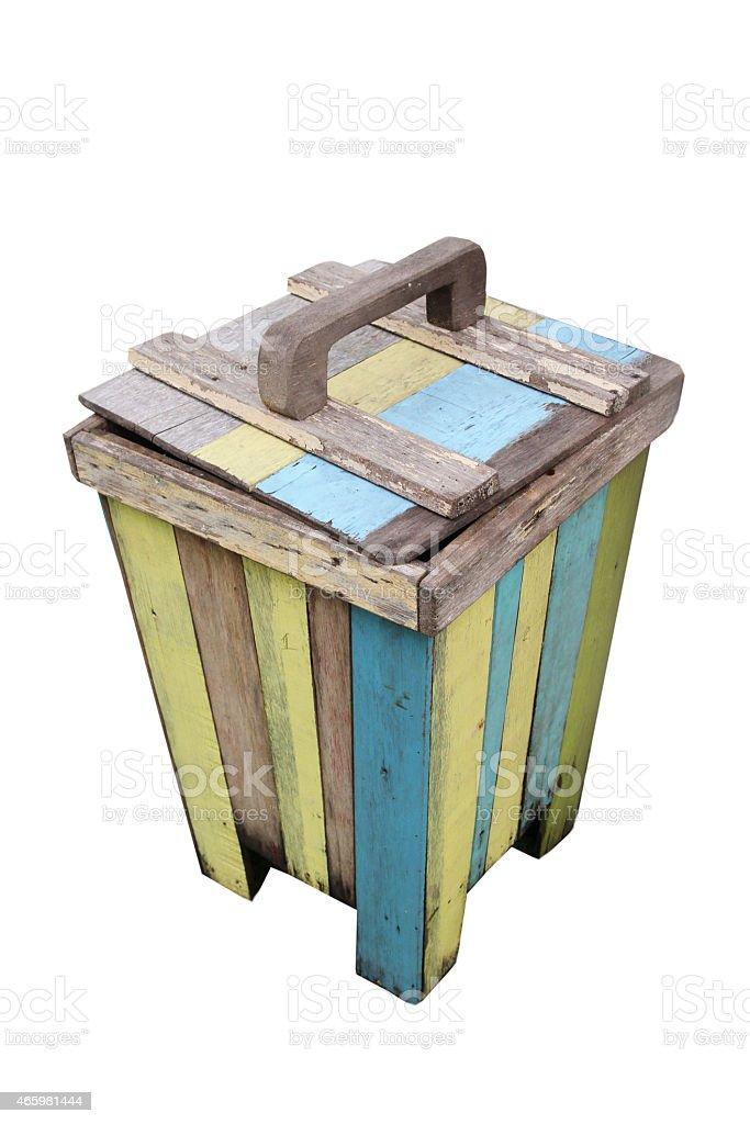 close up colorful wood bin stock photo