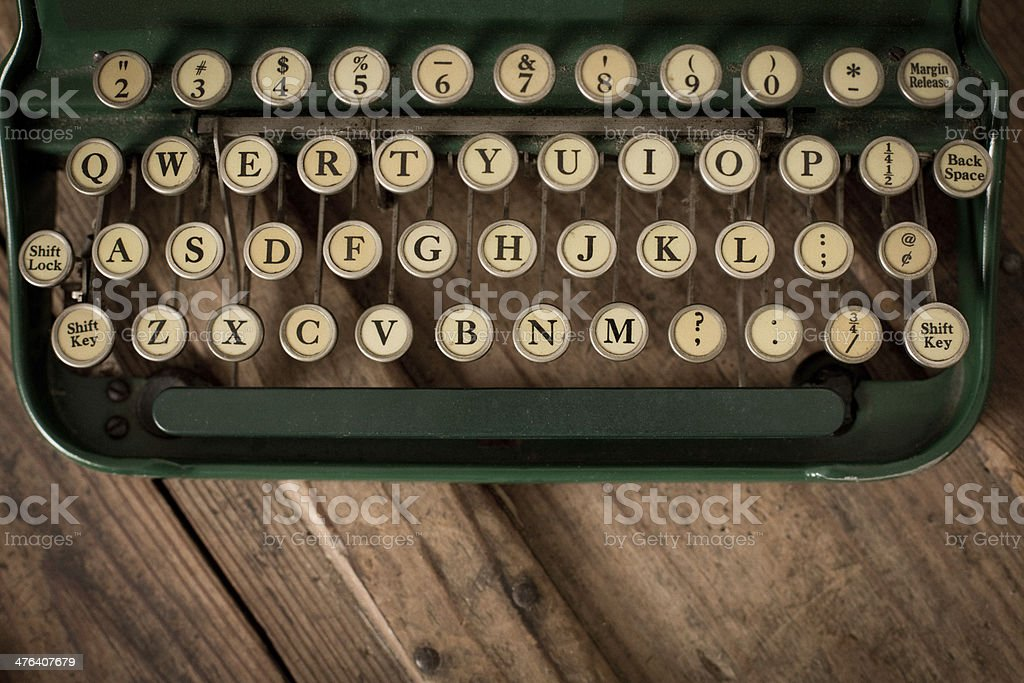 Close Up, ColorImage of Vintage Typewriter Keys stock photo