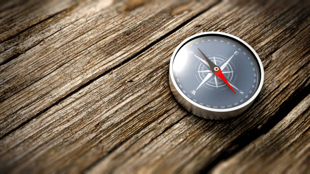 close up compass showing north on a wooden table. 3d rendering - west direction stock pictures, royalty-free photos & images