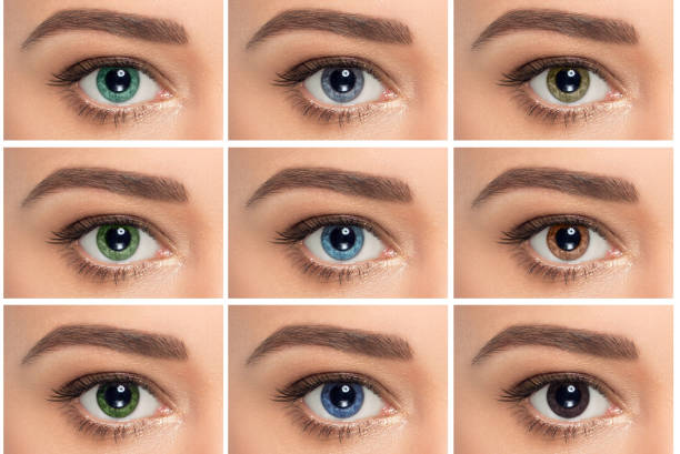 close up, composite of eyes with different color stock photo