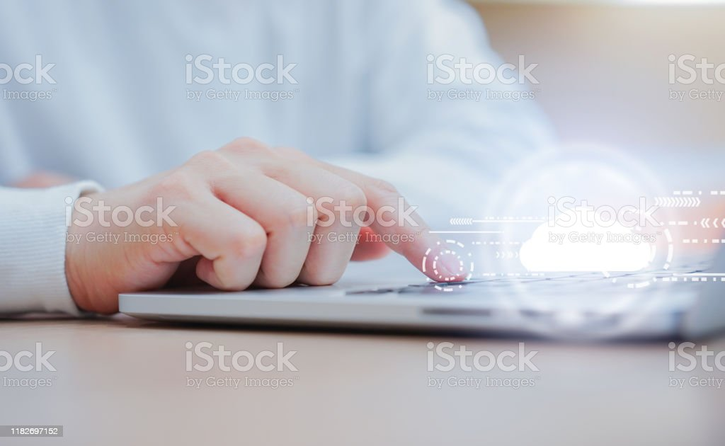 close up computer programmer man hand typing on keyboard for transfer or synch data upload and download from cloud computing service provider with virtual interface in operation room, technology business concept - Royalty-free Accessibility Stock Photo