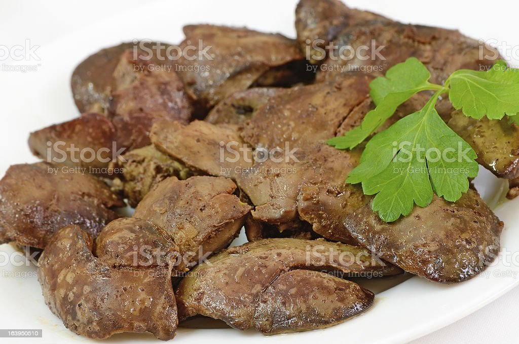 Close up cooked chicken liver royalty-free stock photo
