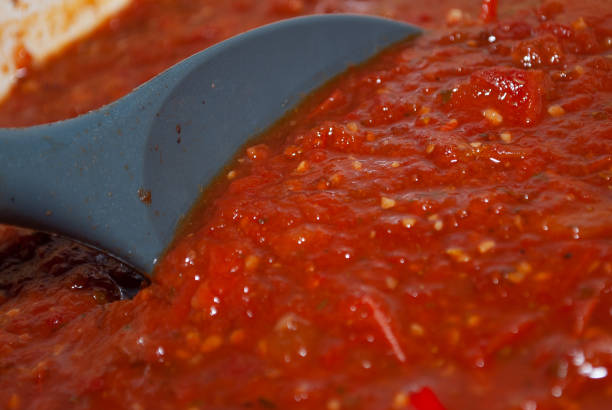 Close Up Cooking Spaghetti Sauce stock photo