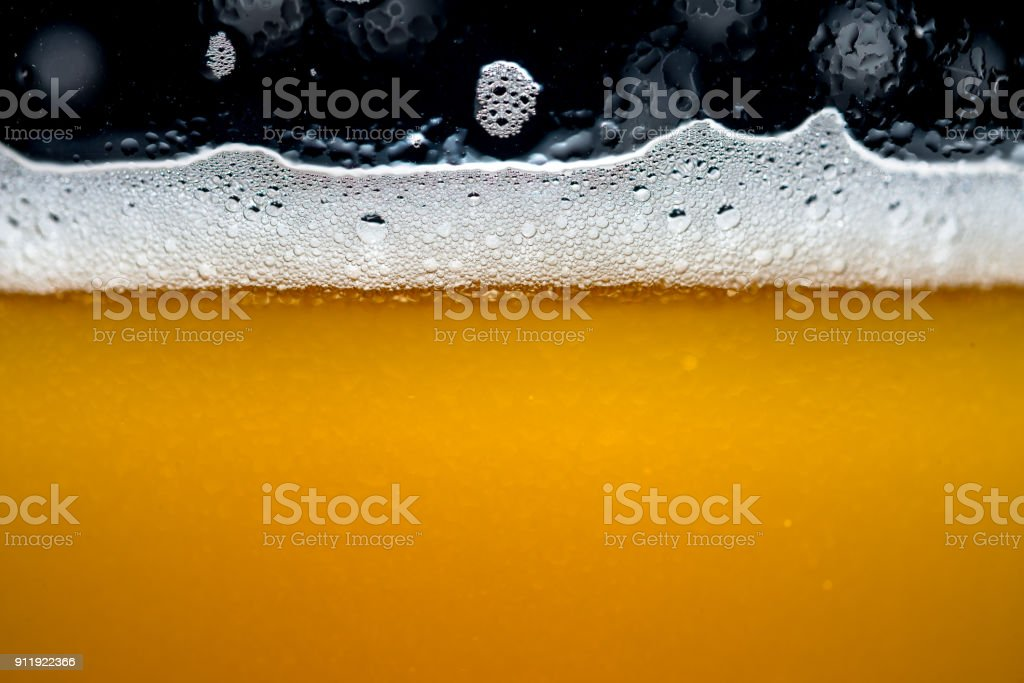 Close up Craft beer bubbles stock photo