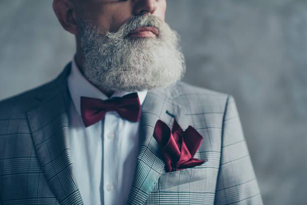 schließen sie beschnittenen foto der elite schicke scharf gekleidet trendige reichen reichen präparierte luxuriöse brutaler macho mann trägt karierte graue jacke weißen hemd burgund fliege gewebe isoliert auf grauem hintergrund - bräutigam anzug vintage stock-fotos und bilder