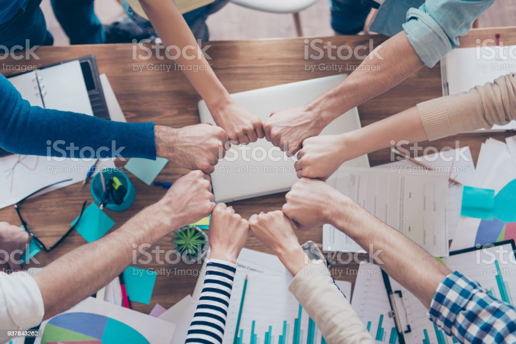 Close up cropped photo of partners putting their fists together in a circle on top of the table with work stuff. Trust, friendship, unity, cooperation concept royalty-free stock photo