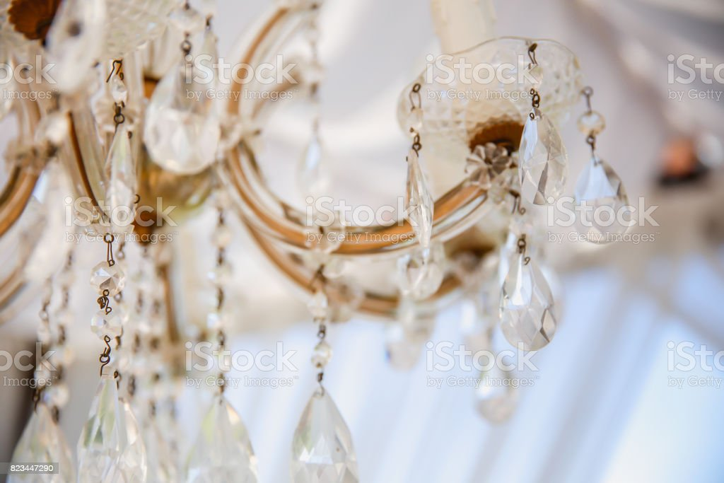 Close up crystal chandelier details stock photo