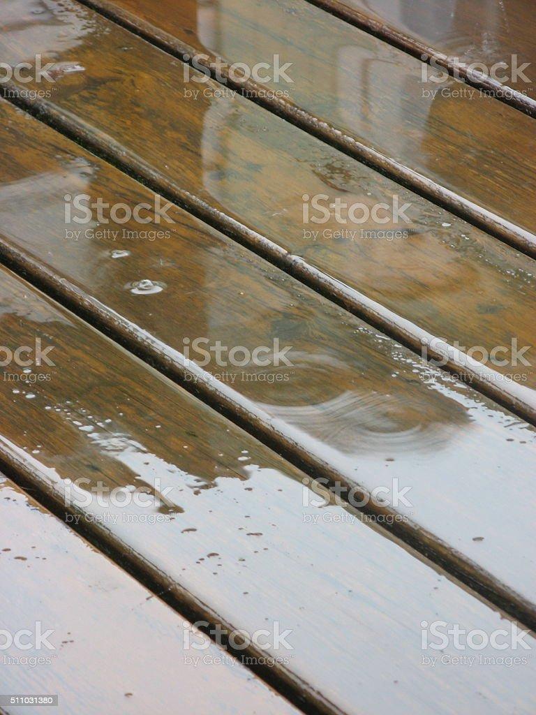 close up  decks after rain. stock photo