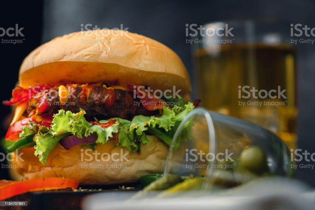 Close Up Delicious Home Made Hamburger With Beef Ketchup