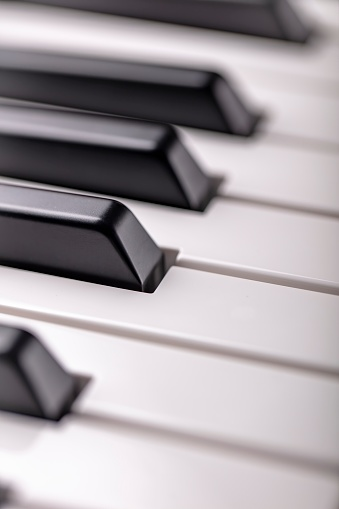 Close up detail black and white keys of a music keyboard