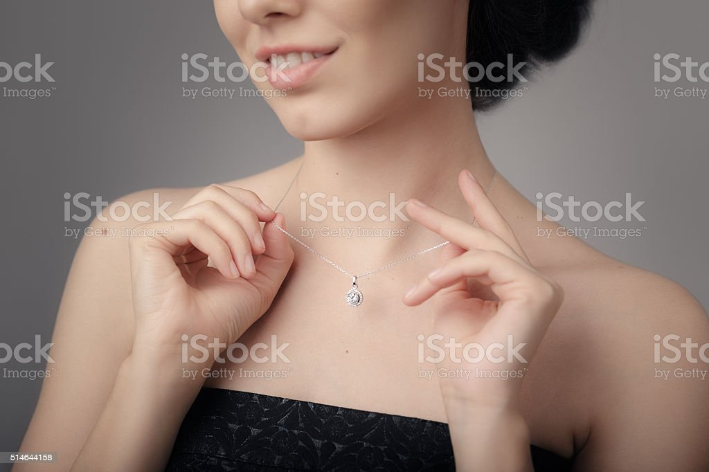Close up Detail of a Beautiful Necklace in Glamour Shot stock photo