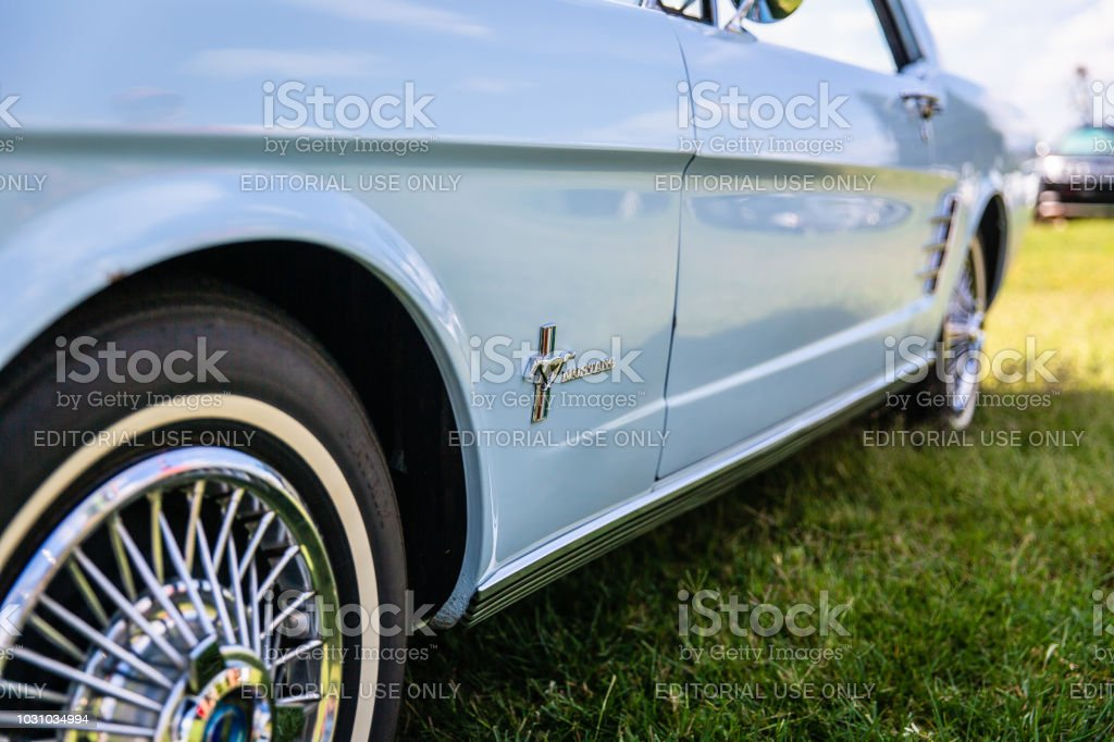 Close up detail of a restored classic Ford Mustang on display at the Matthews Auto Reunion stock photo