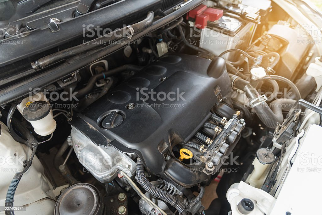 Close up detail of dirty car engine stock photo