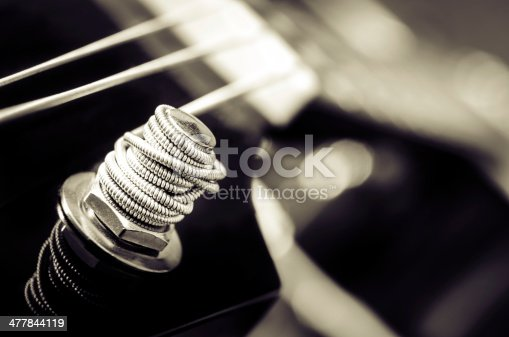 istock Close up detail of guitar string in monochrome 477844119