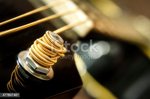 istock Close up detail of guitar string 477847401