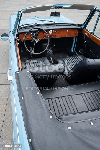 467735055istockphoto Close up detail of interior an vintage car 1150926376