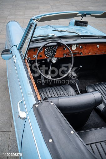 467735055istockphoto Close up detail of interior an vintage car 1150926379