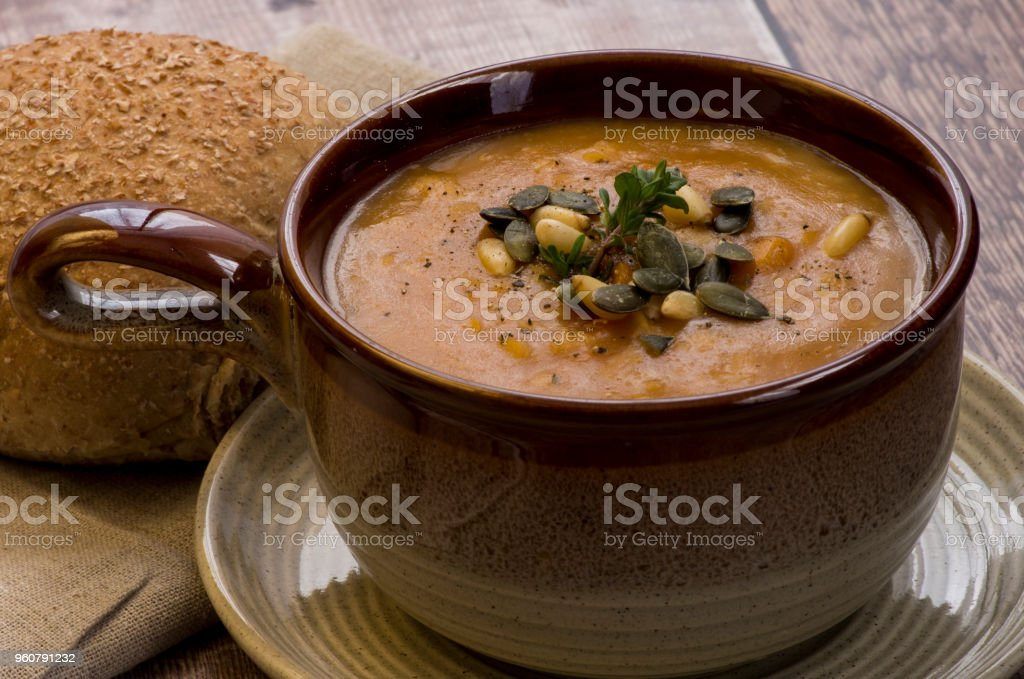 Close Up detail of lentil soup and garnish stock photo