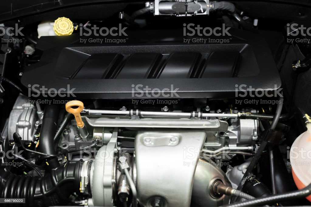 Close up detail of new car engine. Clean new car engine. stock photo