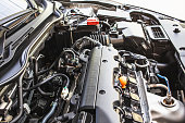 Close up detail of new car gasoline engine, Backgrounds