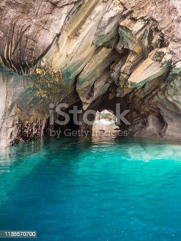Close up detail of the marble cathedral in Chile. Carretera Austral in Patagonia. Detail of the marble and the colour of the water in Lake General Carrera