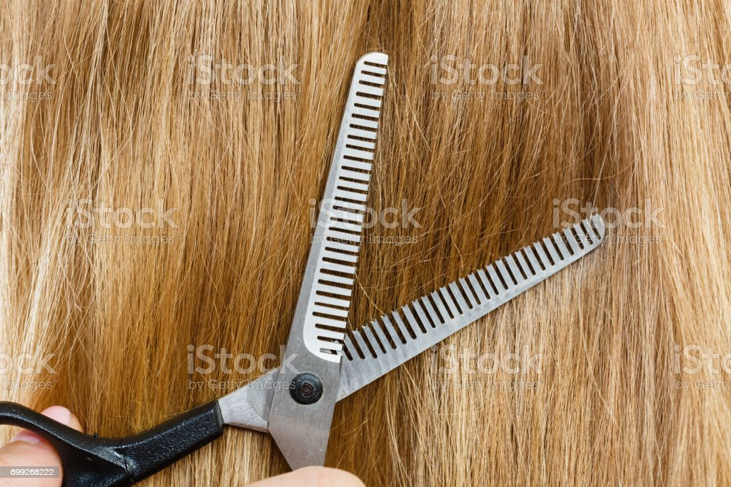 Close up detail. Special scissors cutting hair. stock photo