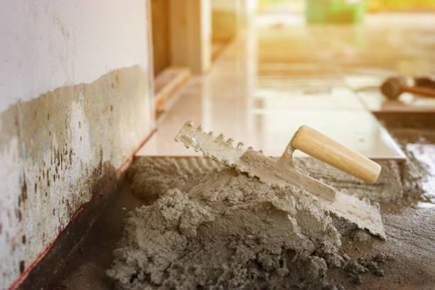Details der industriellen Maurer Ziegel auf Baustelle, selektiven Fokus installieren hautnah – Foto