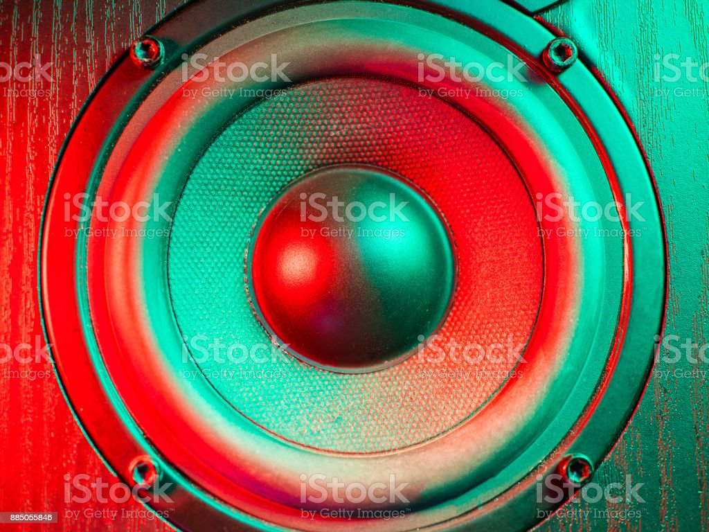 Close up details of loudspeaker woofer and tweeter driver. Colorful green and red led light stock photo
