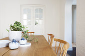 Close up details of scandi styled decor in contemporary dining room