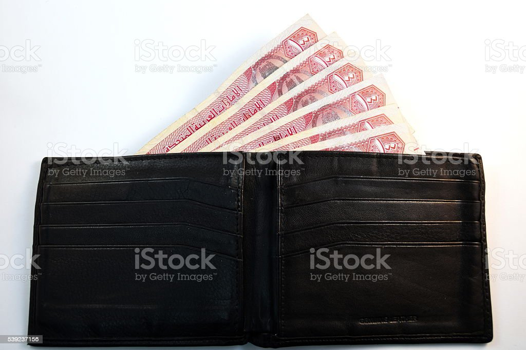 Close up different Dirhams currency note and coins, UAE royalty-free stock photo