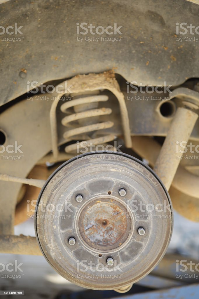 Close up disc brake of the vehicle for repair stock photo