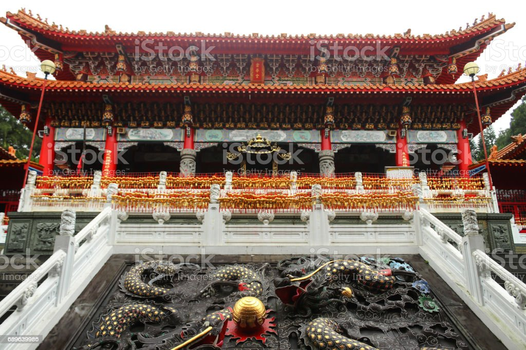 Close up Dragons architecture in Wenwu Temple located at Sun Moon Lake, Taiwan stock photo