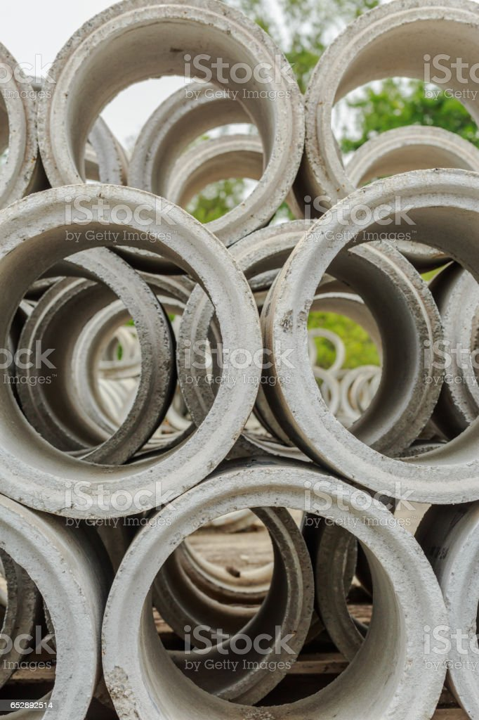 Close up Drainage pipes, concrete stock photo