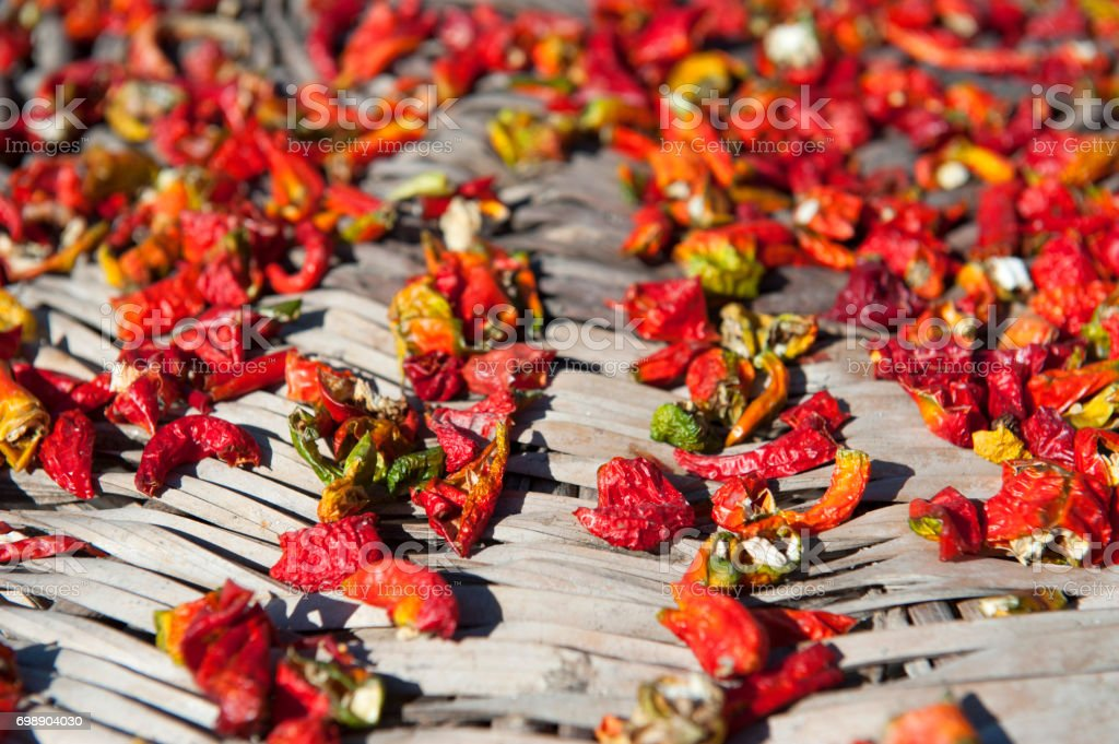Close up Dried Chilli peppers stock photo