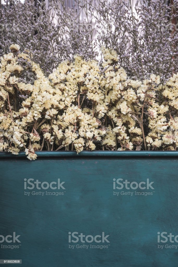 Close up dry Statice flower in steel box for decoration