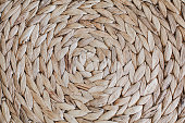 Close up Dry Water Hyacinth, Handmade Wicker placemat surface top view texture. Horizontal repeating pattern. Handcrafted woven product made from aquatic plant.