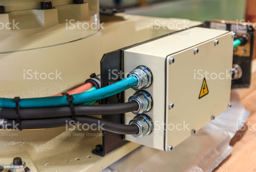 Close up electrical cable at connected to junction box. stock photo